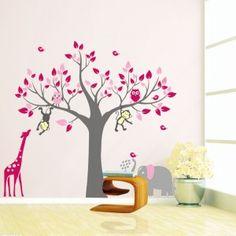muursticker grijze boom met uiltjes en giraffe roze | meisjes, Deco ideeën