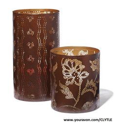 "Pierced Harvest Candle Sleeves $14.99. When illuminated, displays gorgeous seasonal pattern. Large, 8"" H x 4 1/2"" diam. Small, 5"" H x 4 1/2"" diam."