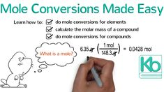This is a whiteboard animation tutorial of how to solve mole conversion calculations. In chemistry, a mole is a very large number of things. Chemistry Classroom, High School Chemistry, Physical Chemistry, Chemistry Notes, Teaching Chemistry, Chemistry 101, 10th Grade Math Worksheets, Chemistry Worksheets, Learn French