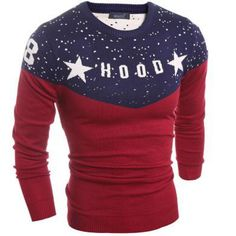 2017 New Men's Sweater Stitching Star Print Letter Pull Homme Slim Fit Thin Wool Knitted Outerwear O-Neck Pullover Men Sudaderas