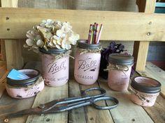Office Mason Jar Set Flower Vase Shabby Chic by VintageDaisyHome