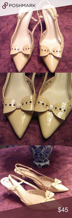 Monet Beige Dress Shoes Pretty Patent Leather Shoes has laser cut design, pointed toe heels and strap around ankle. It has a little bit of wear and tare as shown on pics #5,6&7 but unnoticeable when you wear the shoes. In great condition! :-) Monet Shoes Heels