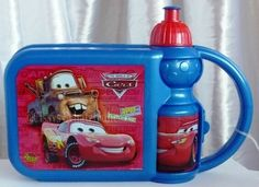 *Lunchbox & drinking bottle ♥Cars♥*    Cute lunchbox with a drinking bottle in one box, comfortable to carry.    The box will closed by a clip.