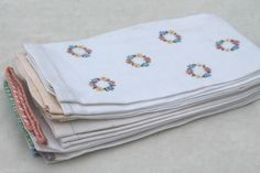 vintage linen guest towels, lot of powder room linens w/ lovely old embroidery