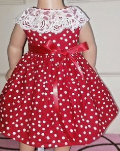 Doll Clothes/Handmade/18 Inches/American Girl Dolls/Red Polka Dots & Lace Dress. #Handmade