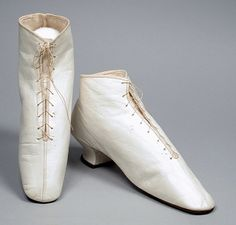 Pair of Womans Ankle Boots (Wedding) Made Of Kid Leather, Suede Leather And Linen - American c.1860 - | LACMA Collections