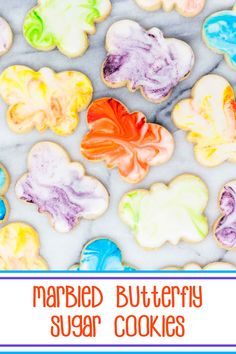 Marbled Butterfly Sugar Cookies - #sugarcookies cut into butterfly shapes and frosted with marbleized royal icing; perfect Mother's Day cookies. #mothersdaycookies #decoratedcookies #cutoutsugarcookies #butterflysugarcookies #marbledsugarcookies Mother's Day Cookies, Cut Out Cookies, Oreo Cookies, Sandwich Cookies, No Bake Cookies, Sugar Cookie Icing, Sugar Cookies Recipe, Cookie Recipes, Baking Recipes