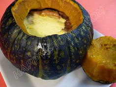 Oven Baked Buttercup Squash filled with Bread and Cheese - Recipe - Oven Baked Buttercup Squash filled with Bread and Cheese is a yummy and hearty yet healthy main dish. Easy to prepare, it will definitely become one of your's family favorites!