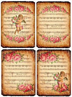 Design Free digital vintage stuff: Roses and Angels Images Vintage, Vintage Tags, Vintage Labels, Vintage Ephemera, Vintage Pictures, Vintage Prints, Vintage Stuff, Decoupage Vintage, Vintage Paper