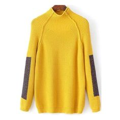 Yellow Color Block Mock Neck Raglan Sleeve Sweater ($25) ❤ liked on Polyvore featuring tops, sweaters, yellow, pullover sweaters, sweater pullover, long sleeve turtleneck, color block sweater and color-block sweater