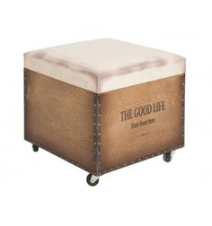 PUFF BAÚL MADERA RUEDAS THE GOOD LIFE INDUSTRIAL 54€