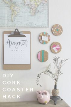 DIY DORM DECOR - cork coasters turned bulletin boards and wall art
