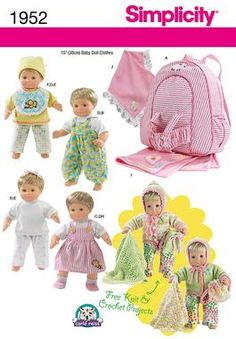 15 in doll clothes/accessories fits Bitty Baby/Bitty Twins Simplicity Creative Group - Doll Clothes & Accessories