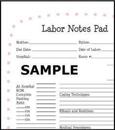 """Labor Notes Pad"".  What a great gift for the parents!  :)"