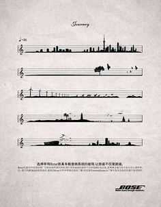 """Bose Sound Systems: """"Sheet Music"""" Print Ad by Bbh Shanghai Graphic Score, Ad Of The World, Music Drawings, Music Aesthetic, Music Tattoos, Creative Advertising, Art Music, Music Sing, Music Notes"""