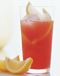 Strawberry Lemonade!  (non-alcoholic)  In a cocktail shaker, muddle the strawberries. Add ice and the lemon juice, water and Simple Syrup. Shake well and strain into an ice-filled highball glass. Garnish with the lemon wedges.