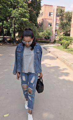 #fashion #style #fashionblogger #fashionista #boyfriendjeans #fishnet #whitesneakers #denimjacket #denimondenim #michaelkors #reflectors #aesthetic