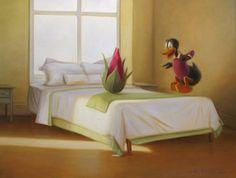 "Born Tampere, Finlandopinnot studies: Turun Taideyhdistyksen Piirustuskoulu ""Kaj Stenvall first came to the atte. Pop Surrealism, Artsy, Bed, Ducks, Finland, Painting, Furniture, Home Decor, Decoration Home"