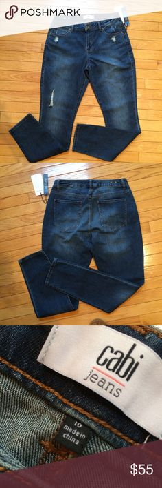 """Cabi Destructed Curvy Skinny NWT, sample Cabi spring 2016. Inseam approximately 31"""", waist laying flat approximately 15"""". 🚫No lowball offers. 💰I offer a 10% bundle discount on 3 or more items. CAbi Jeans Boyfriend"""