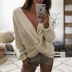 Reversible Twisted Oversized Knit Sweater
