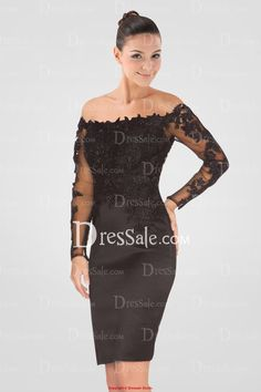 Luxurious Off-the-shoulder Black Cocktail Dress with Ample Appliques and Long Sleeves