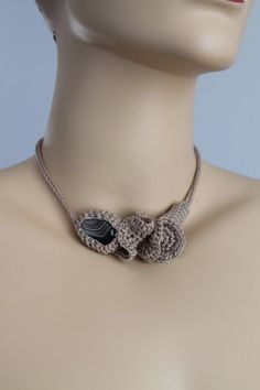 Beige Crochet Necklace  with  - Brown Agate Stone- Crochet Jewelry  - Summer Fashion. $42.00, via Etsy.
