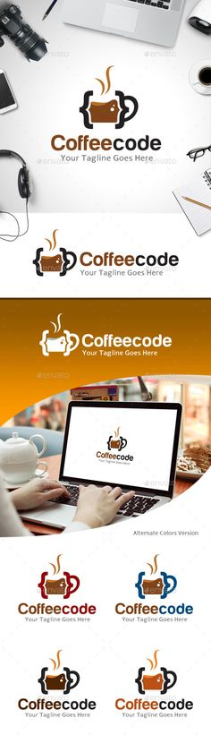 Coffee Code Logo — Vector EPS #coffee break #code • Available here → https://graphicriver.net/item/coffee-code-logo/11213734?ref=pxcr