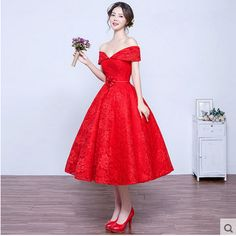 Red Lace Tea Length Evening Dress 2016 New Spring Sunmmer Slit Neck Line Grown Tailor Made Prom Dress-in Bridesmaid Dresses from Weddings & Events on Aliexpress.com   Alibaba Group