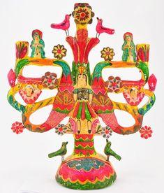 Vintage Mexican Aurelio Flores Tree Of Life Candelabra