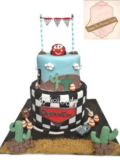 2 Tiered Cars Cake By Belle's Kitchen, To Order Contact Our WA: 081294055786, Line: Bellekitchen Also Be Sure To Follow Our Instagram @belle_kitchen