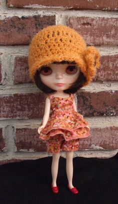 Blythe Hat Mandarin Orange Crocheted Cloche Hat for by Wymzeeknit, $20.00 Shorts and top by Cindy Sowers