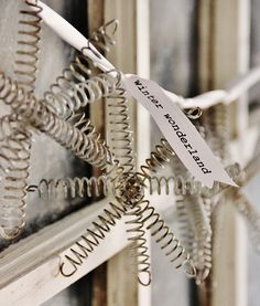 Make a snowflake ornament using old bed springs. Step-by-step instructions on how to make a snowflake ornament from vintage bed springs. Easy DIY project.