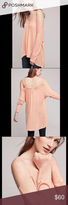 """NWT Anthropologie Millipa Open-Shoulder Top Super cute Open-Shoulder top by Deletta for Anthropologie in color Nude.  Pullover styling.  Polyester/rayon.  Measures approx 31"""" L. Anthropologie Sweaters V-Necks"""