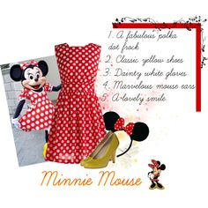 DIY Minnie Mouse by siriuslyoddsome on Polyvore featuring Emily and Fin, Irregular Choice, Disney, halloween costume and minnie mouse