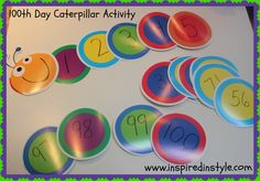 100th day activity from Inspired In Style. In elementary school I was always a fan of the 100th day activities that my teacher had us do, so when I teach my elementary class it's going to be a big deal! I like this idea because its colorful and a great was to keep track of the days until we reach 100! So in my class each day I would get a different student to put up a new number.