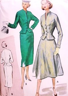 1950s Suit Pattern McCalls 8922 Beautiful Fitted Nip In Waist Jacket Choice of Pencil Slim or Flared Skirt Bust 36 Vintage Sewing Pattern
