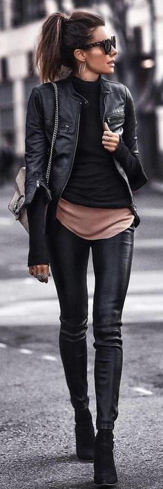 #spring #outfits woman wearing black full-zip leather jacket. Pic by @rome_fashion_style