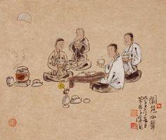 """김창배그림 Korean Artist """"damwon Kim-Chang bae大韓民國 潭園金昌培 畵家  """" Zen Tea Art  차 마시기ᆞ Tea time  (60×65cm)2010年作"""