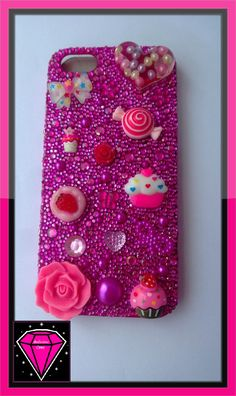Pink handmade sparkly iPhone 5 case with cabochons available at https://www.facebook.com/bodaciousphones