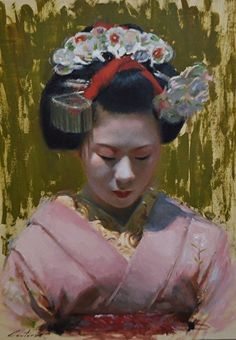 Portrait of a Maiko by Phil Couture Oil ~ 36cm x 26cm