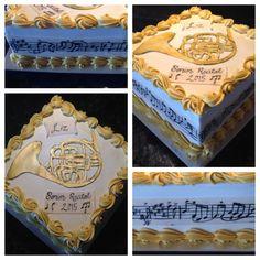 French Horn recital cake Music Note Cake, Carolines Cakes, Music Themed Cakes, Basic Cake, Cake Logo, Sweet Caroline, French Horn, T Baby, Recital