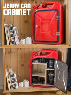Create your own jerry can cabinet with an exchangeable shelve combination.