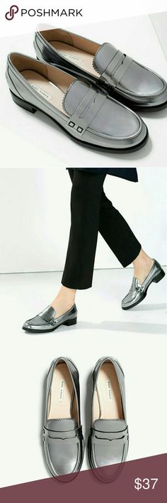 Zara shoes Silver metalic loafers,  super trendy! Zara Shoes Flats & Loafers