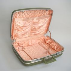 Vintage Green Suitcase Shell Pink Satin Lining Revere by pinguim