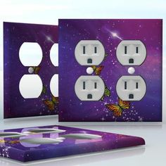 DIY Do It Yourself Home Decor - Easy to apply wall plate wraps | Butterfly Nebula Purple space with sparkles and butterflies wallplate skin sticker for 2 Gang Wall Socket Duplex Receptacle | On SALE now only $4.95