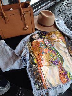 Hand painted denim jacket with Gustav Klimt Water Snakes ll .