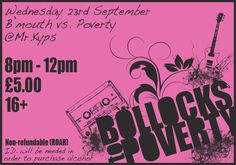 Ticket design for 'Bollocks to Poverty' charity gig, a branch of Action Aid aimed at a younger audience