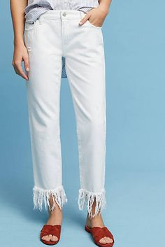 Pilcro Hyphen Mid-Rise Straight Fringed Jeans