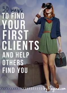 Whether you're an introvert, extrovert, or ambivert, this list will help you find your fist clients. Both active recruiting methods and ways to set yourself up (with a long-term strategy) for clients to find you are shared in: 30 Ways to Find Your First Clients #smallbusiness #biz