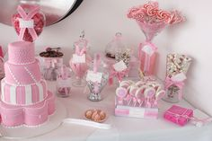 When I saw this gorgeous pink and white candy and dessert buffet designed by Brie and Karon of Sugarcoated Events, I was pretty much giddy. I love sweets and I'm on a major pink kick lately so it really justRead Idee Baby Shower, Baby Shower Candy, Shower Bebe, Girl Shower, Bar A Bonbon, Rose Bonbon, Pink Dessert Tables, Dessert Buffet, Lolly Buffet